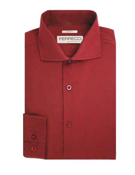 Spread Collar Slim Fit Shirt Cotton Burgundy Men's Dress Shirt