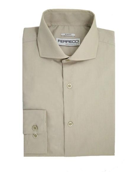 Spread Collar Slim Fit Cotton Grey Mens Dress Shirt