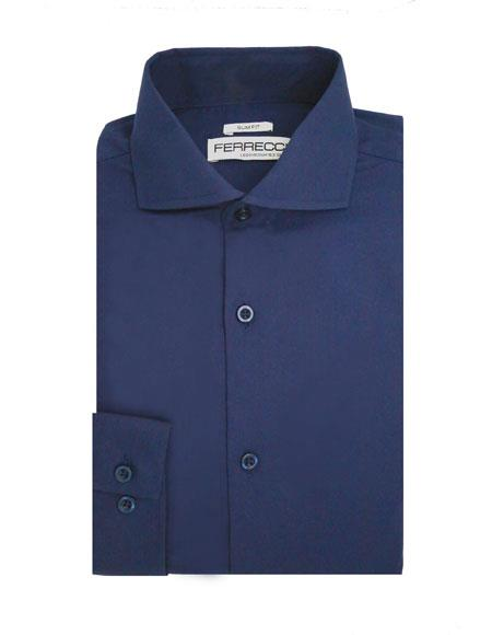 Spread Collar Slim Fit Dress Shirt Cotton Navy