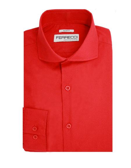 Red Spread Collar Button Closure Cotton Mens Dress Shirt