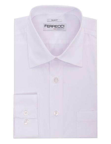 Spread Collar Slim Fit Cotton White Mens Dress Shirt