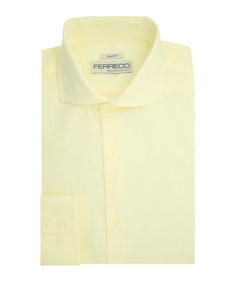 Spread Collar Slim Fit Dress Shirt Cotton Off White