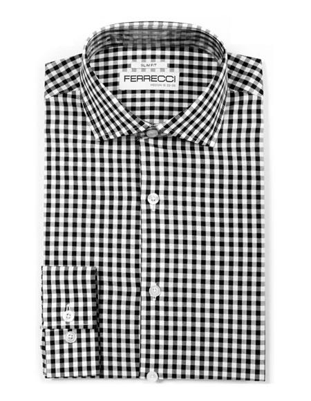 Slim Fit Cotton Black Mens Dress Gingham Shirt - Checker Pattern - French Cuff - White Collared + Free Bowtie