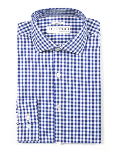Spread Collar Slim Fit Dress Shirt Cotton Blue