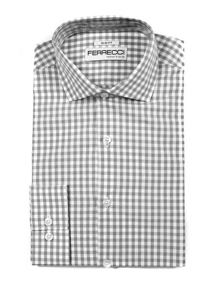 100% Cotton Grey Men's Dress Gingham Shirt - Checker Pattern - French Cuff - White Collared + Free Bowtie