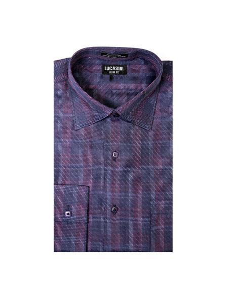 Spread Collar Slim Fit Dress Shirt Cotton Purple