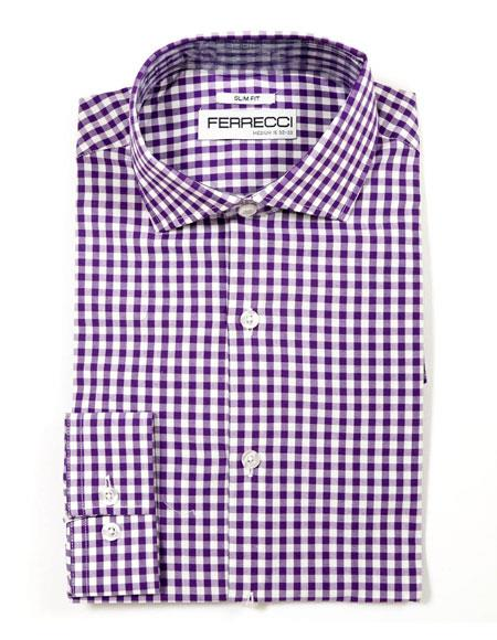 Purple Cotton  Mens Dress Gingham Shirt - Checker Pattern - French Cuff - White Collared + Free Bowtie