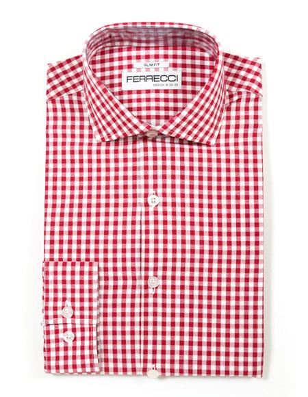 Spread Collar Slim Fit Cotton Red Mens Dress Gingham Shirt - Checker Pattern - French Cuff - White Collared + Free Bowtie