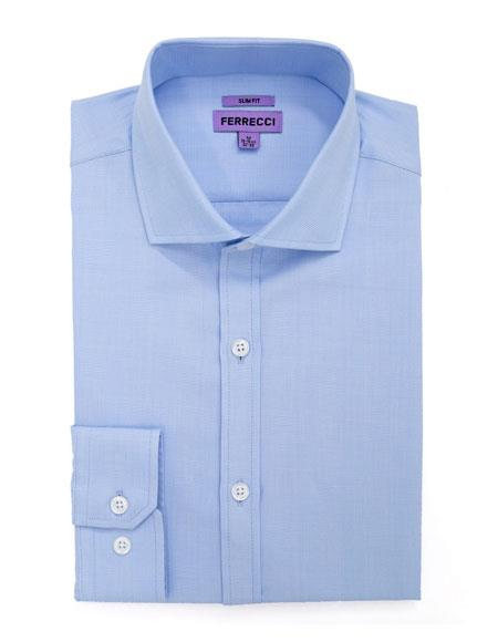 Spread Collar Slim Fit Dress Shirt Cotton Light Blue