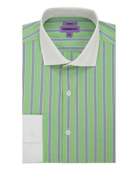 Striped Pattern Matching White Collar & Cuffs Green Cotton Dress Shirt