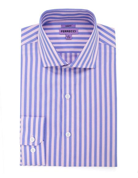 Spread Collar Slim Fit Dress Shirt Cotton Rose