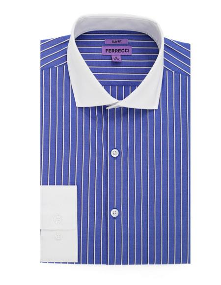Spread Collar Blue Striped Pattern Men's Dress Gingham Shirt - Checker Pattern - French Cuff - White Collared + Free Bowtie