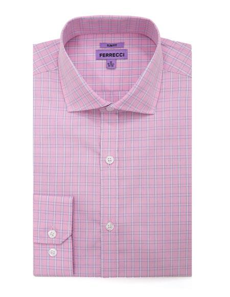 Checked Pattern Pink French Cuff Mens Dress Shirt