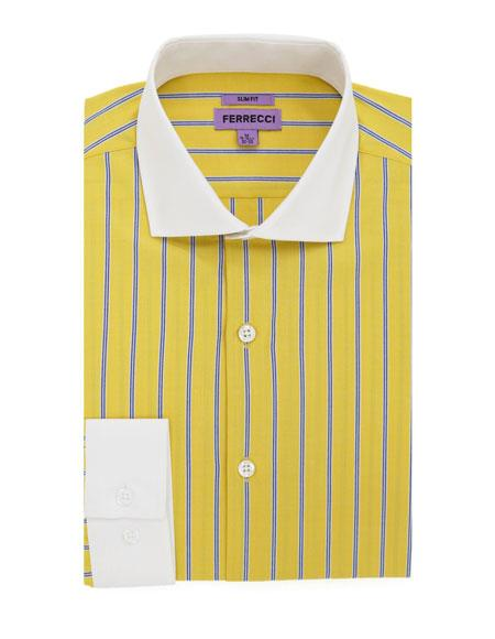 Yellow Striped Pattern 100% Cotton Men's Dress Gingham Shirt - Checker Pattern - French Cuff - White Collared + Free Bowtie