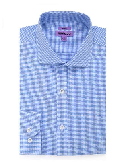 Slim Fit  Button Closure Blue Mens DressGingham Shirt - Checker Pattern - French Cuff - White Collared + Free Bowtie