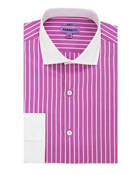 Pink Spread Collar Slim Fit Mens Dress Gingham Shirt - Checker Pattern - French Cuff - White Collared + Free Bowtie