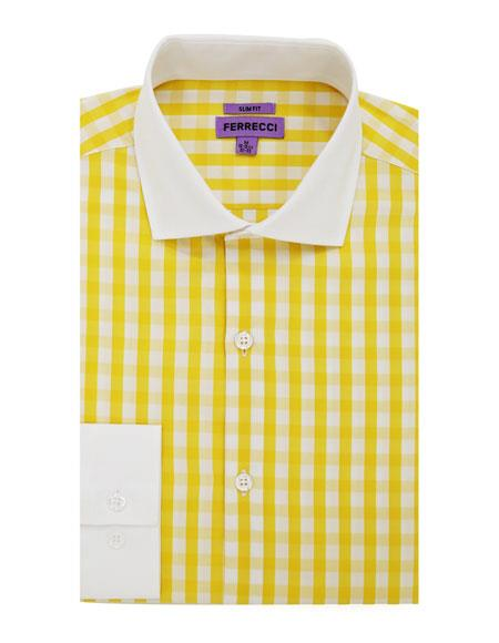 Spread Collar Slim Fit Cotton Yellow Mens Dress Gingham Shirt - Checker Pattern - French Cuff - White Collared + Free Bowtie