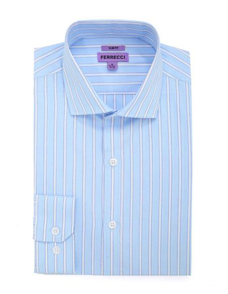 100% Cotton French Cuff Blue Men's Dress Shirt