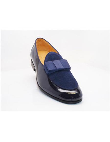 Tuxedo Shoes Blue Slip On Cap Toe Grosgrain Bow & Piping  Men's Shoes