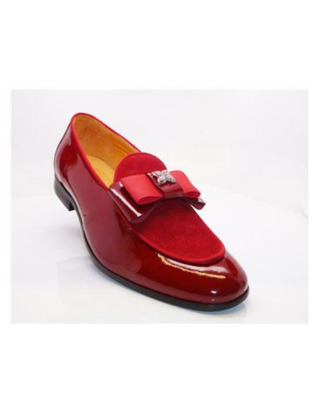 Tuxedo Shoes Red Slip On Cap Toe Grosgrain Bow & Piping  Men's Shoes