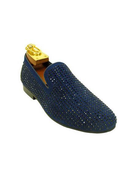 Tuxedo Shoes Blue Slip On Cap Toe Black Rhinestone Studs Men's Shoes