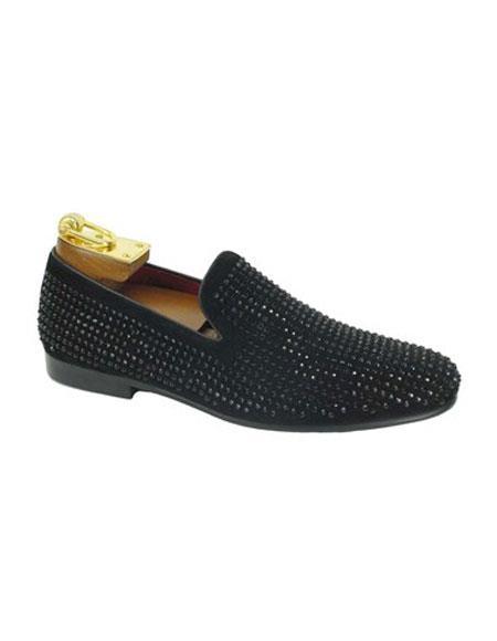 Tuxedo Shoes Black Slip On Cap Toe Black Rhinestone Studs  Men's Black Dress Shoe