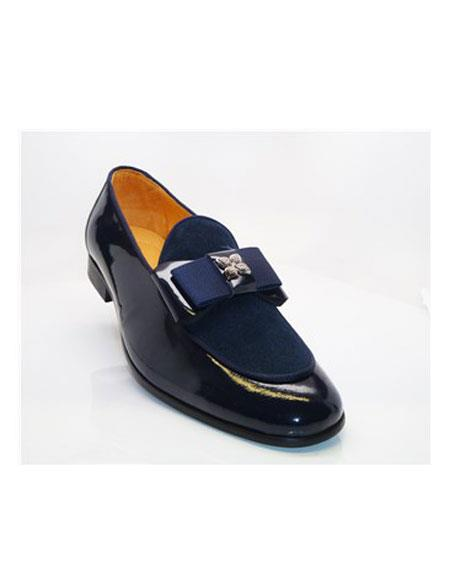 Tuxedo Shoes Blue Slip On Cap Toe Tuxedo Dress Carrucci Shoe For Men Perfect for Wedding