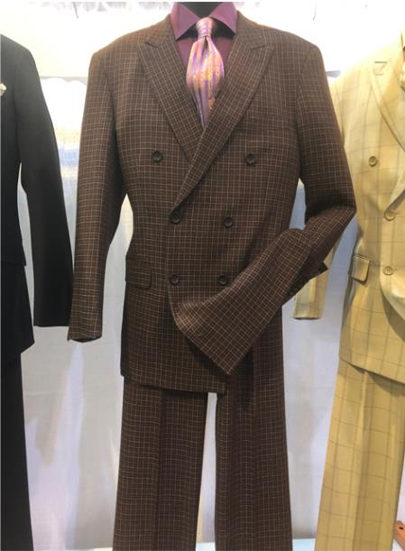 1930s Style Mens Suits Mens Notch Lapel Single Breasted Brown Suit $160.00 AT vintagedancer.com