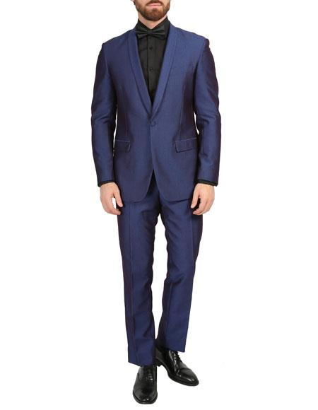 Mens Navy One Button Shawl Lapel Slim Fit Tuxedo