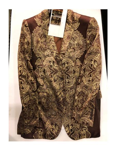 Mens Floral Pattern Double Breasted One Button Brown ~ Gold Blazer