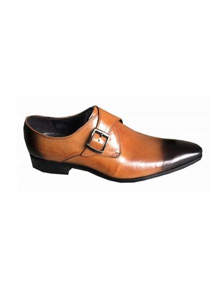 Men's Slip On Cognac Rust Copper Color Zota Men's Tan Color Shoe Unique Dress Shoes - Buckle Tan  Unique Zota Men's Dress Shoe