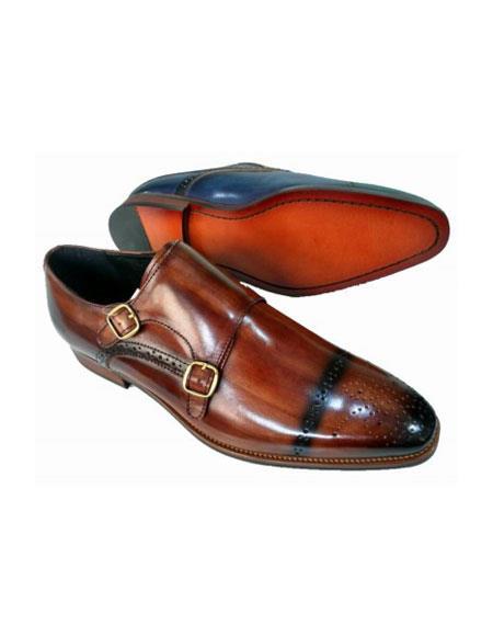 Mens Slip On Zota Mens Unique Dress Shoes - Double Buckle Brown Unique Zota Mens Dress Shoe