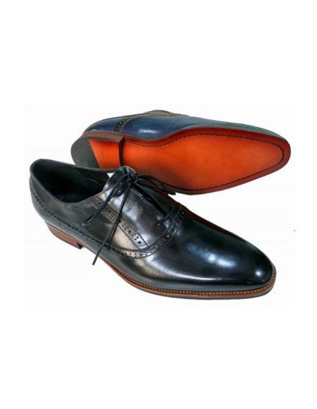 Mens Lace Up Soft Genuine leather Upper & Lining Black Unique Zota Mens Dress Shoe