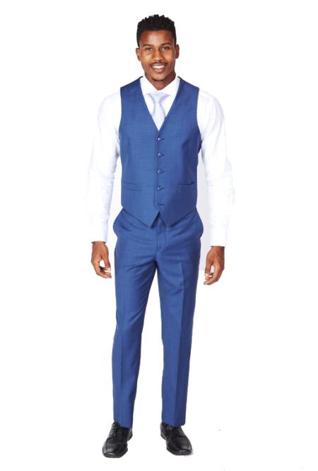 Men's Royal Blue Dress Tuxedo Wedding Men's Vest ~ Waistcoat ~ Waist coat & Tie & Matching Dress Pants Set