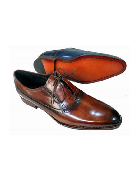 Brown Dress Shoe Mens Lace Up Soft Genuine leather Upper & Lining Brown Unique Zota Men's Dress Shoe