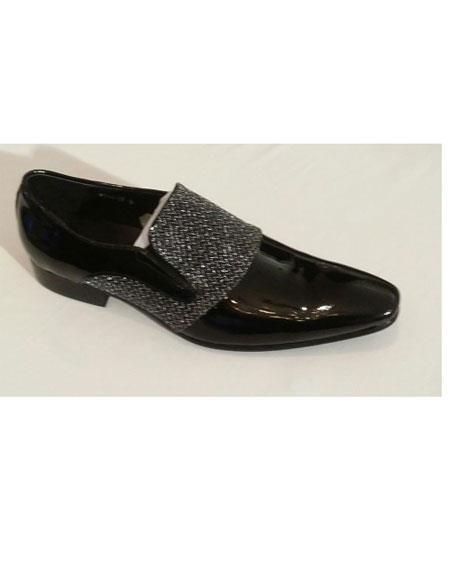Men's Slip On Soft Genuine leather Upper & Lining Black Unique Zota Men's Dress Shoe