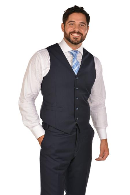 Mens Navy Dress Tuxedo Wedding Vest ~ Waistcoat ~ Waist coat & Tie & Matching Dress Pants Set