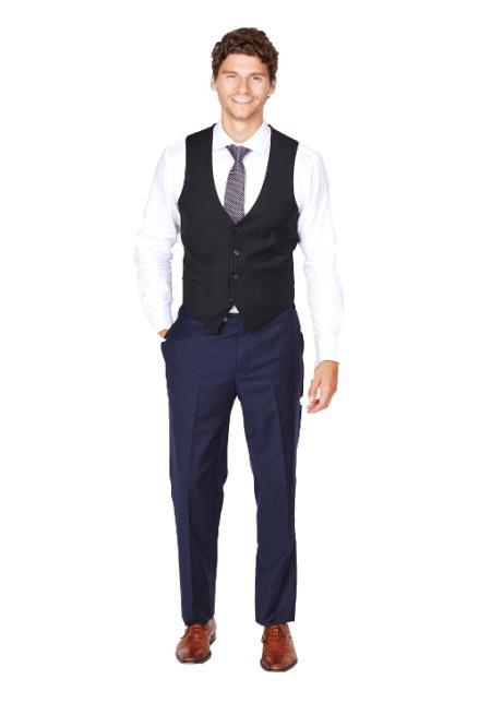 Men's Black Dress Tuxedo Wedding Men's Vest ~ Waistcoat ~ Waist coat & Tie & Matching Dress Pants Set