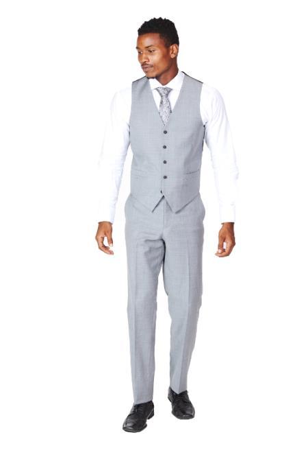 Men's Grey Dress Tuxedo Wedding Men's Vest ~ Waistcoat ~ Waist coat & Tie & Matching Dress Pants Set