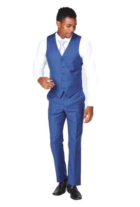 Men's Blue Dress Tuxedo Wedding Men's Vest ~ Waistcoat ~ Waist coat & Tie & Matching Dress Pants Set
