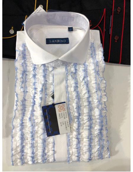 Mens Lay Down Tuxedo White~Blue Dress Shirt