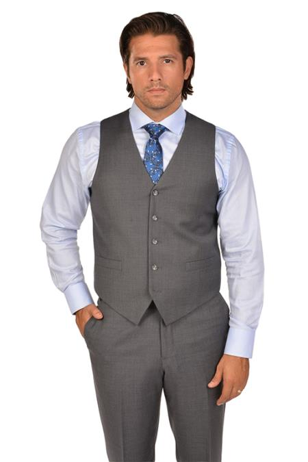 Mens Grey Dress Tuxedo Wedding Vest ~ Waistcoat ~ Waist coat & Tie & Matching Dress Pants Set