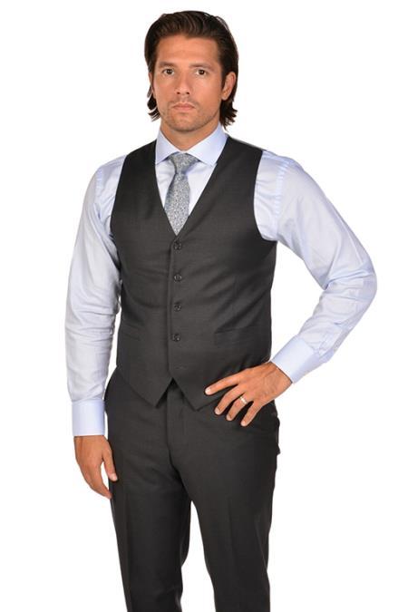 Men's Charcoal Dress Tuxedo Wedding Men's Vest ~ Waistcoat ~ Waist coat & Tie & Matching Dress Pants Set