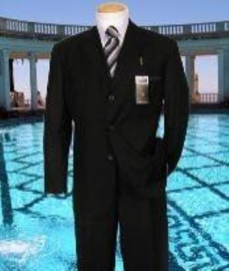 SKU#CA456 Black Solid Suit Super 150s Hand Made With No Pleated Pants $169