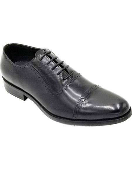Men's Cap Toe Black Lace Up Unique Zota Men's Dress Shoe