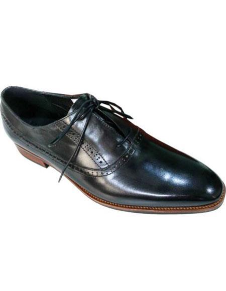 Men's Plain Toe Black Premium Soft Genuine leather Lace Up Unique Zota Men's Dress Shoe