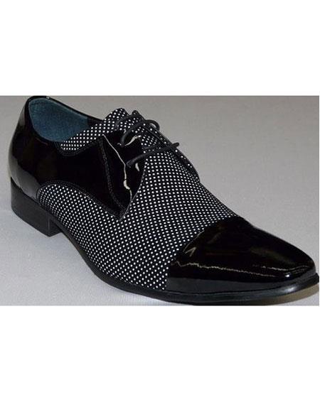 Mens Black ~ White Pin Dot Lace Up Unique Zota Mens Dress Shoe