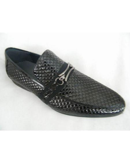 Men's Snake Print Soft Genuine leather Black Unique Zota Men's Dress Shoe
