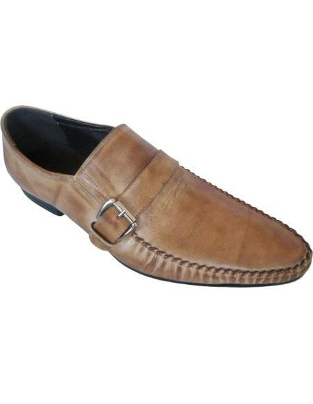 Men's Taupe Side Buckle And Strap Unique Zota Men's Dress Shoe
