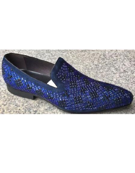 Men's Crystal Geometric Pattern Blue Unique Zota Men's Dress Two Toned Dress Shoe